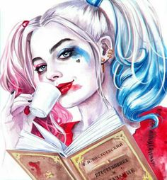 Harley Quinn + sipping and reading