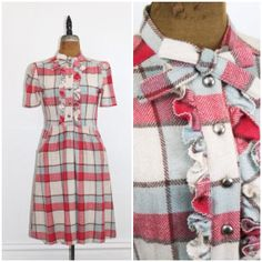 Vintage 1940s dress . Pretty Please . pink and blue plaid 40s dress with pockets…