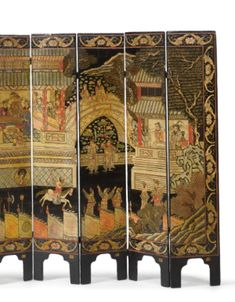 A CHINESE POLYCHROME AND BLACK-LACQUER EIGHT-PANEL SMALL FOLDING SCREEN QING DYNASTY, 19TH CENTURY