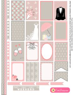 FREE Printable Wedding themed Stickers for Happy Planner and Erin Condren Life Planner by Cutedaisy