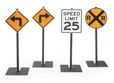 AN-AFB2610 TRAFFIC SIGNS II¨ (LEFT TURN, RIGHT TURN, RR CROSSING, 25MPH SPEED LIMIT)