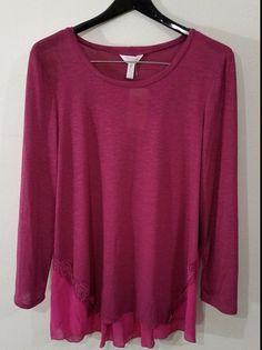 Three Seasons Maternity Purple Shirt 2X Long Sleeves Rayon Spandex Polyester NWT #ThreeSeasons #Blouse #maternity Only $10.99 + shipping