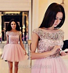 Scoop Neck Prom Dresses, Crystal  Formal Dresses, Pink Evening Dresses, Princess Homecoming Dresses, Tulle Party Dresses