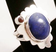 Sterling Silver Ring with Hand cut Lapis Lazuli and Garnet  size 8 by DKHandcraftedJewelry on Etsy