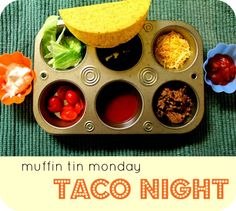 Moments of Mommyhood: Muffin Tin Monday {Taco Night} Easy Toddler Meals, Toddler Lunches, Kids Meals, Toddler Food, Muffin Pan Recipes, Side Recipes, Picky Eaters, Tacos, Good Food