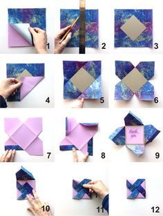 Here are the steps I went through to make my Pinwheel Fold Card.