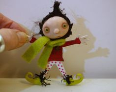 ooak poseable tiny new born baby bug fairy in a by DinkyDarlings