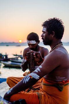 Early morning prayer on the ghat- George Koruth