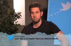 Celebrities read mean tweets on Jimmy Kimmel.  (How could you hate that face?!  It is adorable!)