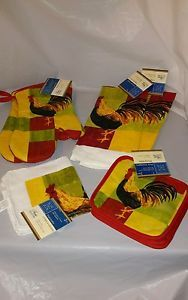 Rooster-7-PC-Kitchen-Set-Dish-Towels-Dish-Cloth-Pot-Holder-Oven-Mitt-NWT