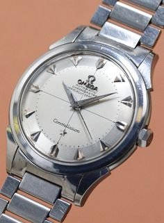 Vintage Watch OMEGA Constellation  Cal.354  1950'S #vintagewatch #omega Cool Watches, Watches For Men, Wrist Watches, Men's Watches, 1950s Design, Omega Constellation, Vintage Omega, Famous Brands, Retro