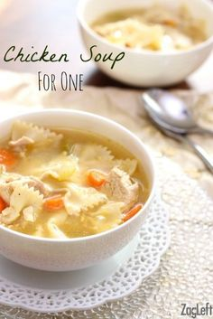 Here's a great recipe for hearty and satisfying Chicken Soup for One! No nee… Here's a great recipe for hearty and satisfying Chicken Soup for One! No need to make a huge pot, this wonderful recipe will serve one or two people. Single Serve Meals, Single Serving Recipes, Meals For Two, Small Meals, Mug Recipes, Great Recipes, Dinner Recipes, Cooking Recipes, Cooking Videos