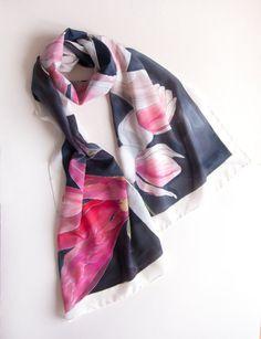 Crepe de Chine scarf Pink Magnolia/ Hand painted silk by klaradar
