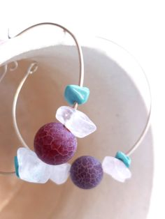 Turquoise blue agate and rose quartz hoop earrings  by BGLASSbcn, $36.00