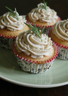 Rosemary and Olive Oil Cupcakes with Chestnut Frosting.