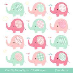 "Cute Elephant Clip Art ""ELEPHANT CLIPART""- Baby Shower Elephants Nursery Png Images. Elephant Clipart. Pink Elephants. Mint Elephants."