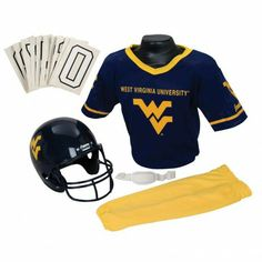 College Football Deluxe Uniform Set - West Virginia - Pass along the college football tradition to your young fan with this official College Football Deluxe Uniform Set. Included is an official team jersey, team helmet with authentic logo and team colors, and team pants that will have them looking ready to take the field. The set also includes iron-on numbers (0-9) for the back of the jersey. - See more at: http://franklinsports.com/shop/college-deluxe-uniform-set