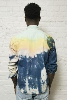 love the bleached pattern of this shirt