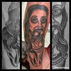 Jesus Christ  tattoo oldschool traditional by: Renato Vision (old vision tattoo) https://instagram.com/renatovision/