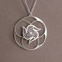 Spiral Vortex Sterling Silver Hand Cut Pendant by IntricateCuts