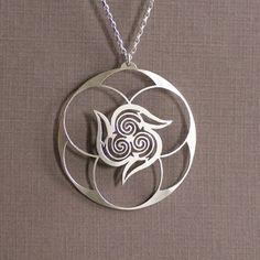 Spiral Vortex Sterling Silver Hand Cut Pendant by IntricateCuts