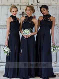 Bridesmaid Dress Blue, Bridesmaid Dress A-Line, Chiffon Bridesmaid Dress, Navy Blue Bridesmaid Dress, Long Bridesmaid Dress Bridesmaid Dresses 2018 Navy Blue Bridesmaid Dresses, Black Bridesmaids, Beautiful Bridesmaid Dresses, Elegant Dresses, Bridesmaid Outfit, Bridesmaid Gowns, Bridesmaid Ideas, Dress Vestidos, Sleeveless Dresses