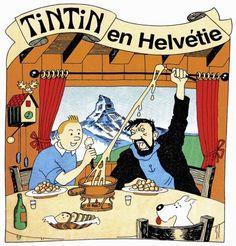 PIRATE Tintin et le capitaine Haddock mangent une fondue devant le Cervin. Ce genre de T-shirts pirates se vendait comme des petits pains dans les années 80 et 90.