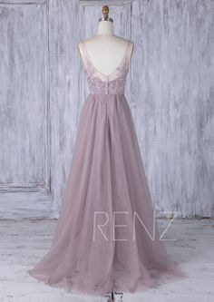Dark Mauve Tulle Bridesmaid Dress With TrainV Bead Neckline