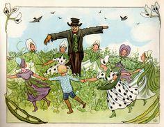 Elsa Beskow kleine kinderen in de tuin 1920 ed 1974 ill g Elsa Beskow, Vintage Book Art, Fairytale Fantasies, Vintage Fairies, Illustration Art, Book Illustrations, Nymph, Illustrators, Fairy Tales