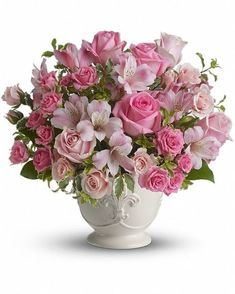 Order Teleflora's Pink Potpourri Bouquet with Roses from Exotic Flowers, your local Boston florist. Send Teleflora's Pink Potpourri Bouquet with Roses for fresh and fast flower delivery throughout Boston, MA area. Pink Flower Arrangements, Vase Arrangements, Centerpieces, Funeral Flowers, Wedding Flowers, Fresh Flowers, Beautiful Flowers, Pink Roses, Pink Flowers