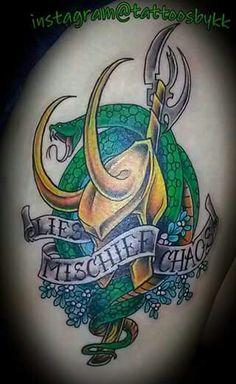 Loki tattoo thigh tattoo