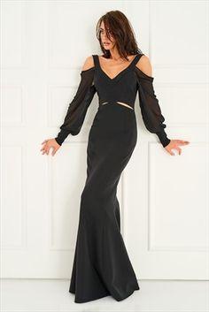 Siyah Omuz Dekolteli Elbise