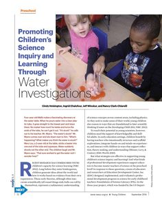 Promoting Children's Science Inquiry and Learning Through Water Investigations