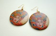 Handmade wooden earrings, Eco-friendly earrings, Dangle earrings, Carnival motif earrings, Decoupage earrings, Gift for her