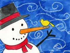 Learn how to paint a snowman that is not small and boring. Make him (or her) much more interesting with close cropping and a few other special touches.