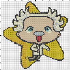 Recipe and Stitch   Einstein with star cross stitch pattern   http://www.recipeandstitch.com