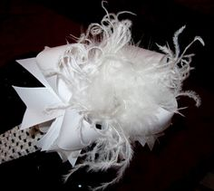 Over the Top Ostrich Feather Hair Bow by MyBellaBellaBowtique, $15.95