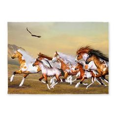 Wild #Horses Herd 5'x7'Area #Rug Wild Horses Herd - A wild herd of horses galloping across the land and an #eagle flies over!  $153.99  thanks to the customer!