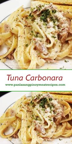 This recipe is an improved version of the simple tuna carbonara recipe. Easy Tuna Recipes, Canned Tuna Recipes, Pastas Recipes, Fall Soup Recipes, Gnocchi Recipes, Salmon Recipes, Seafood Recipes, Easy Meals, Cooking Recipes