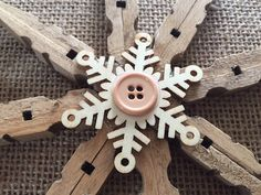 Set of Three Rustic Snowflake Clothespin by PintasticWreaths