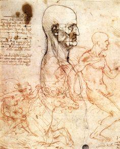 Leonardo da Vinci,  Profile of a Man and Study of Two Riders, c.1497
