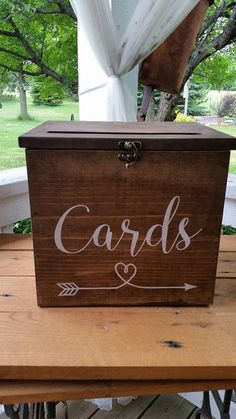 Perfect card box for your special day! These rustic card boxes are made from pine wood in our shop with lots of love, then stenciled with the design in the example (with your info) The Details: * Dimensions: Medium Box (14L X 9T X 8W), Large Box (14L X 9T X 11W) * Made from pine * Medium Box holds 100-150 cards * Large Box holds 150-225 cards * The slot at the top is 10 long * Latch- we have a swing latch (no lock) or a lockable latch with a lock (select in drop down) HOW TO ORDER: Select…