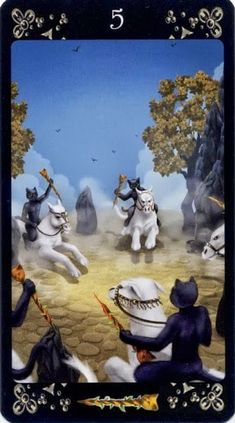 Sửng sốt Lá Five of Wands - Black Cats Tarot bài tarot