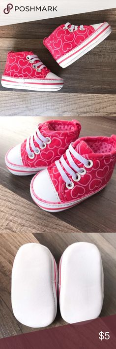 Pink Hearts Sneakers NB Sneakers with hot pink and white hearts design, soft soled. Never worn, has small highlighter mark on bottom/side of one shoe (4th picture). #nbshoes #sneakers #hearts #hotpinksneakers Shoes Baby & Walker