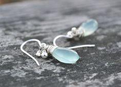 Aqua Blue Chalcedony Wire Wrapped Earrings, Sterling Silver Earrings, French Hooks, Semi Precious Jewelry, Handmade on Etsy, $32.00