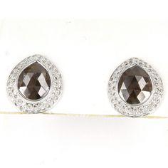 Vintage 8.90ct Rose Cut Diamond Stud Earrings 14 Karat White Gold Estate Fine Jewelry