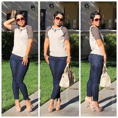 Jeweled #jcrew Sweater & Jeans