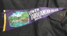 Vintage Lower Tahquamenon Falls Flag Souvenir Tassels Pennant Mich MI Travel