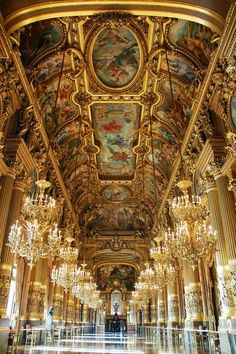 "The Grand Foyer, Palais Garnier Opera House, Paris | France ............................  https://www.globe-tripper.com | ""Home-made Hospitality"" 