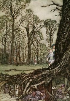 Dusk in the Garden - Arthur Rackham